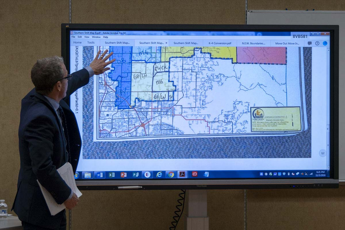 Battle Ground Schools Deputy Superintendent Denny Waters talks through options presented by a committee looking at overcrowding in the district. Photo by Chris Brown