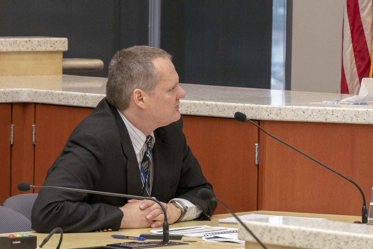 Clark County Manager Shawn Henessee delivers a report on his recommended 2019 budget at a council work session. Photo by Chris Brown