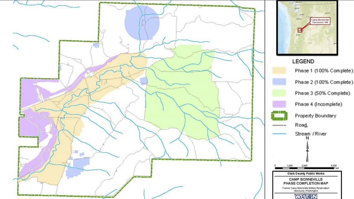 This map shows some of the cleanup focus areas at Camp Bonneville. Image courtesy Clark County Public Works