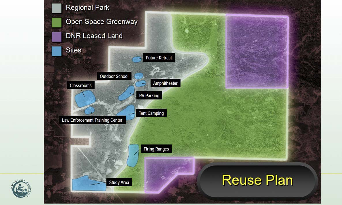 This map shows some potential uses for redevelopment of the Camp Bonneville Military Reserve base site. Image courtesy Clark County Public Works