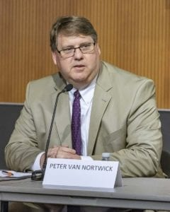 Clark County Assessor Peter Van Nortwick at a League of Women Voters Candidate forum this past Summer. Photo by Mike Schultz
