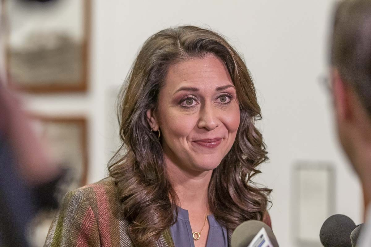 Rep. Jaime Herrera Beutler talks with reporters on election night. Photo by Mike Schultz