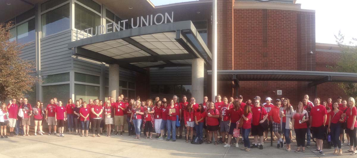 Evergreen teachers stand outside Union High School during the recent strike over pay. Image courtesy Evergreen Education Association
