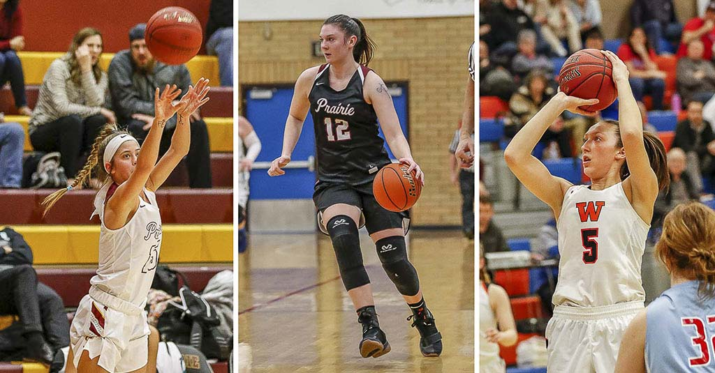 Three friends who have been on the same club team for years are excited about signing Division I scholarships for women's basketball this week: Cassidy Gardner of Prairie, Brooke Walling of Prairie and Beyonce Bea of Washougal. Photos by Mike Schultz