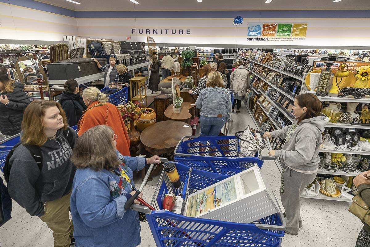 Shoppers brave the crowds on opening day of the new Goodwill Store on Fourth Plain, looking for bargains. Photo by Mike Schultz