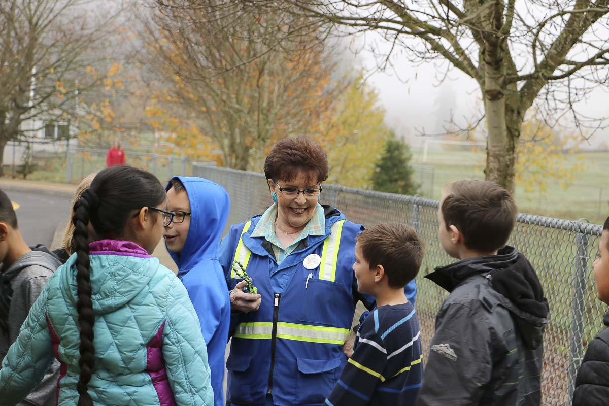 Bus driver Helen Peterson leads students through safety drills at Glenwood Heights Primary School. Photo courtesy of Battle Ground Public Schools