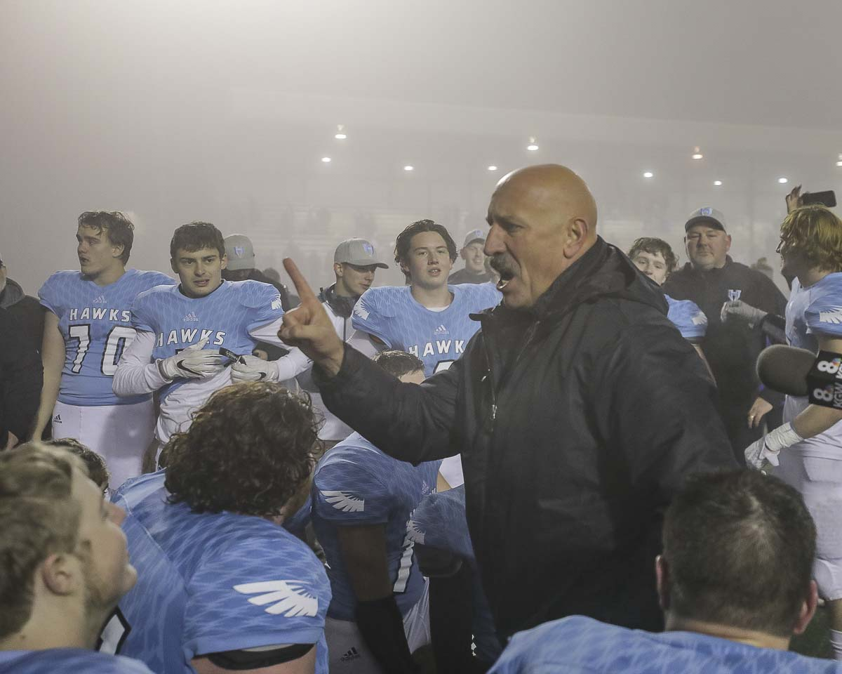 Hockinson coach Rick Steele notes the Hawks have one more game to win after Hockinson won in the semifinals last week. There will be no fog in the Tacoma Dome on Saturday. Hockinson is looking for its second consecutive Class 2A state title. Photo by Mike Schultz