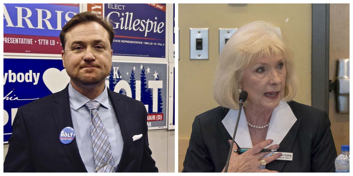 Clark County Chair candidates Eric Holt and Eileen Quiring. Photos by Chris Brown and Jacob Granneman