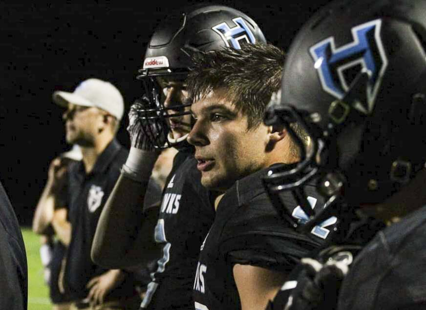 Hockinson linebacker Jon Domingos is focused on helping his team make it back to the Class 2A state championship game. Domingos, a starter on last year's title team, has turned into a leader this season for the Hawks. Photo courtesy of Jenny Ristau
