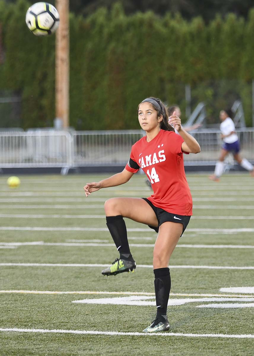 Senior Justine Pauly has helped lead Camas back to the final four. This is Camas' fourth trip in a row to the final weekend of Class 4A state girls soccer. Photo by Kris Cavin