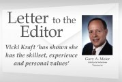 Letter: Vicki Kraft 'has shown she has the skillset, experience and personal values'