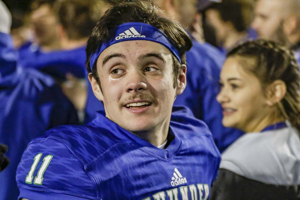 Garrett Moen acknowledged it got a little emotional after the Thunder won last week to advance to the state semifinals. The starting quarterback has helped Mountain View to 11 consecutive wins. Photo by Mike Schultz