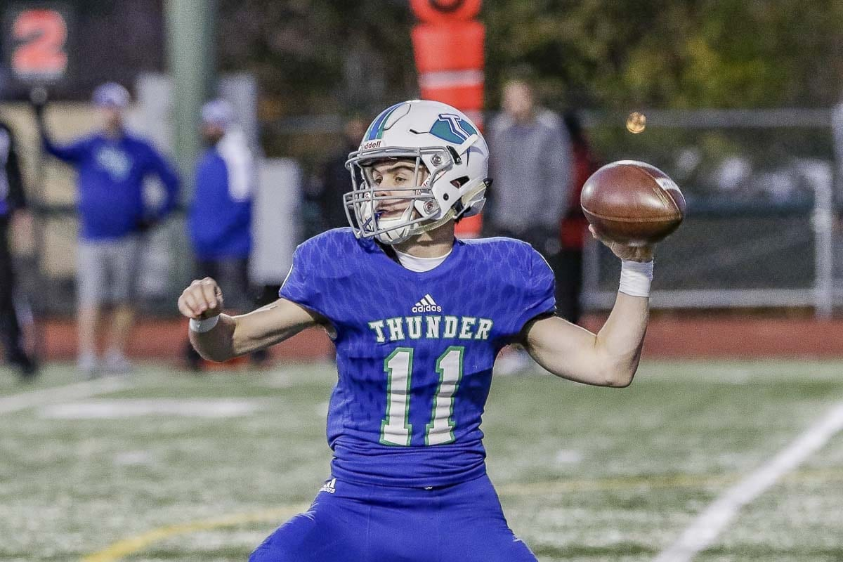 Mountain View quarterback Garrett Moen has passed for more than 2,500 yards and rushed for more than 600. He has accounted for 33 touchdowns. After grinding for two years as the junior varsity quarterback, he became a league Player of the Year in lone varsity season. Photo by Mike Schultz