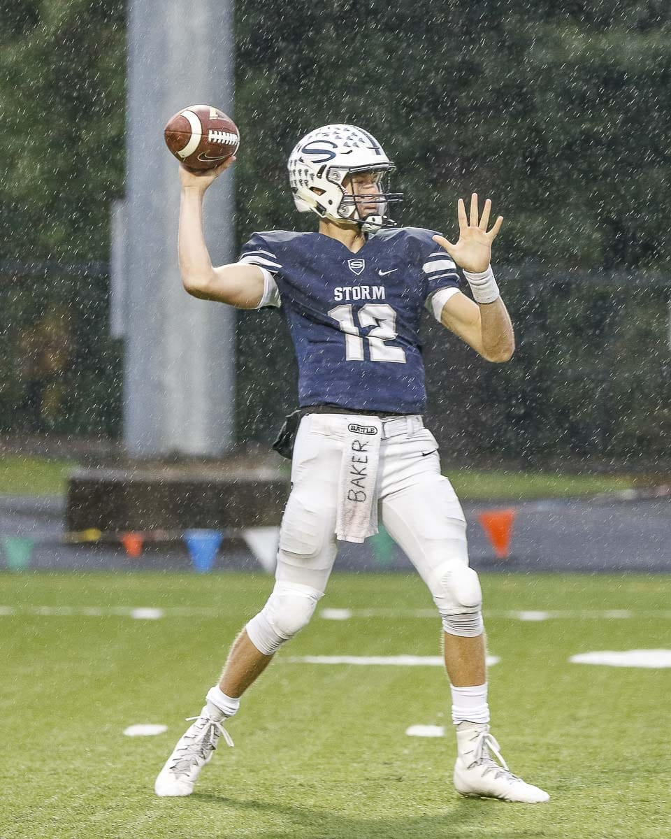 Skyview quarterback Yaro Duvalko and the Storm are hoping to stun the rest of the state as a No. 15 seed, taking on No. 2 Woodinville in the opening round of the Class 4A state playoffs Saturday. Photo by Mike Schultz