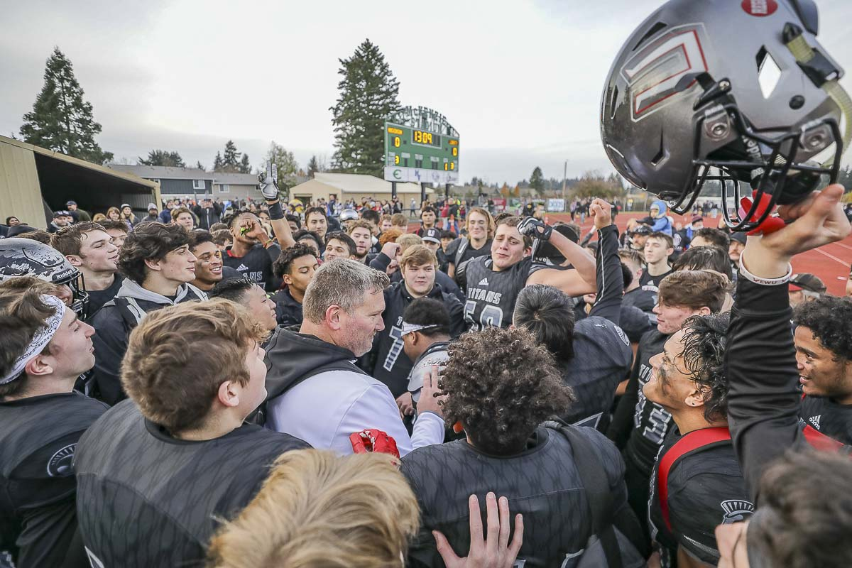 The Union Titans hope to have another celebration this week, only this time at the Tacoma Dome on Saturday night. Union takes on Lake Stevens in the Class 4A state championship game at 7:30 p.m. Photo by Mike Schultz