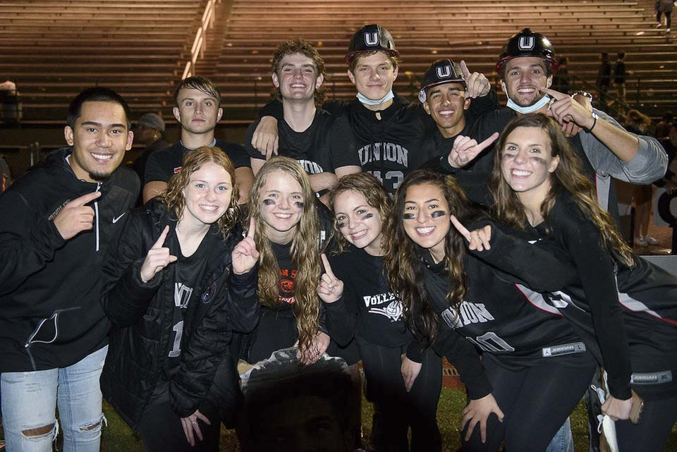 Evan Brown, far left, is part of Titan Nation, a group that promotes school spirt at Union High School. The students expect to be crazy loud Saturday night at the Tacoma Dome, cheering the Union Titans in the state championship football game. Photo courtesy of Evan Brown