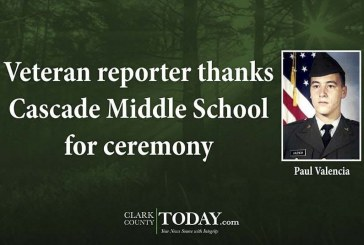 Veteran reporter thanks Cascade Middle School for ceremony