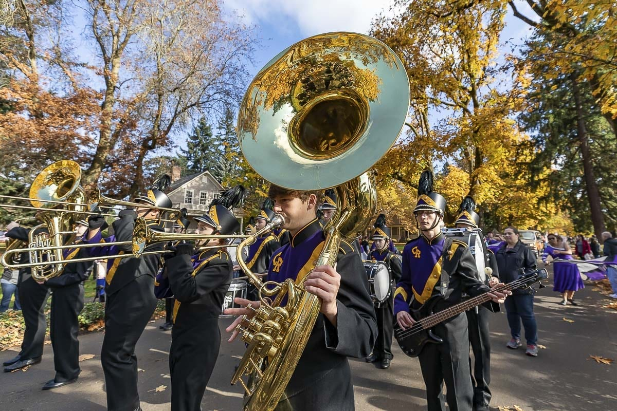 The Columbia River High School Marching Band provided a musical element to the annual Veterans Day Parade along Officer's Row at the Fort Vancouver National Historic Site Saturday. Photo by Mike Schultz