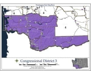 Washington's 3rd Congressional District is a tight race this year. Image courtesy Washington Redistricting Commission