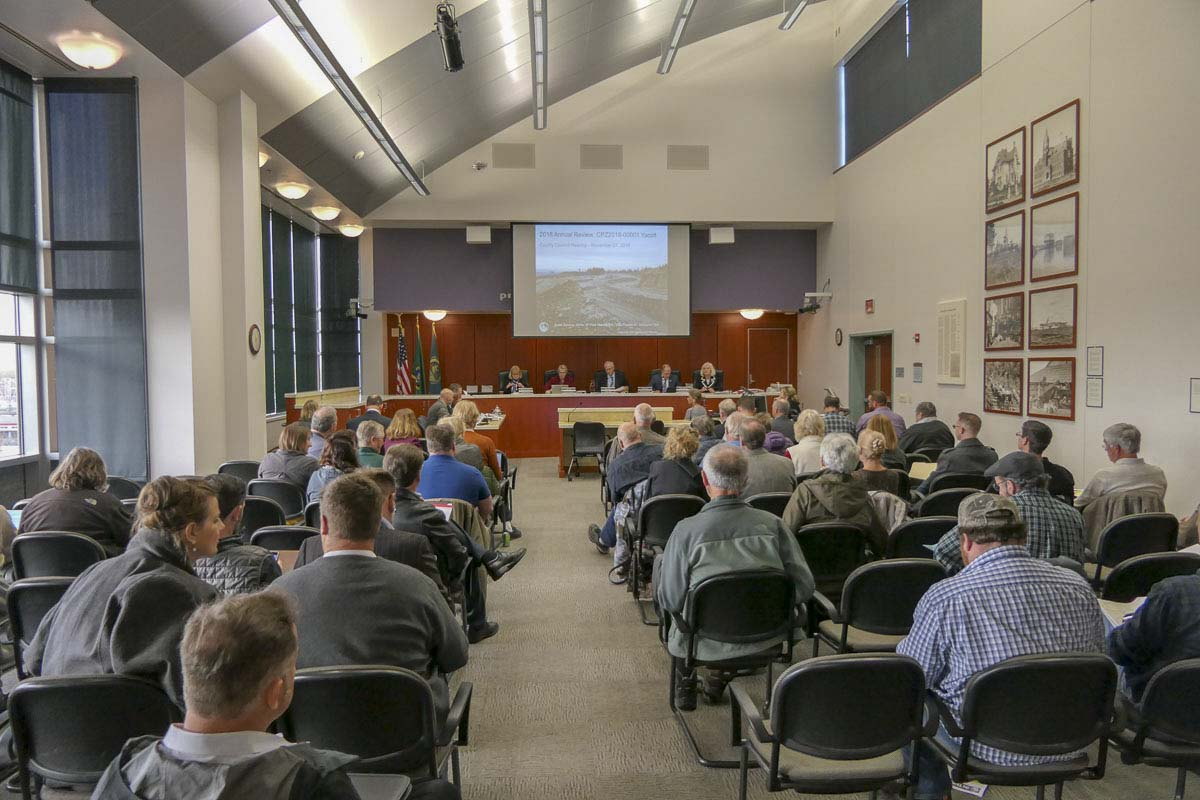 There was a packed house Tuesday as the Clark County Council considered a proposal to expand a mining overlay for the Yacolt Mountain Quarry. Photo by Chris Brown