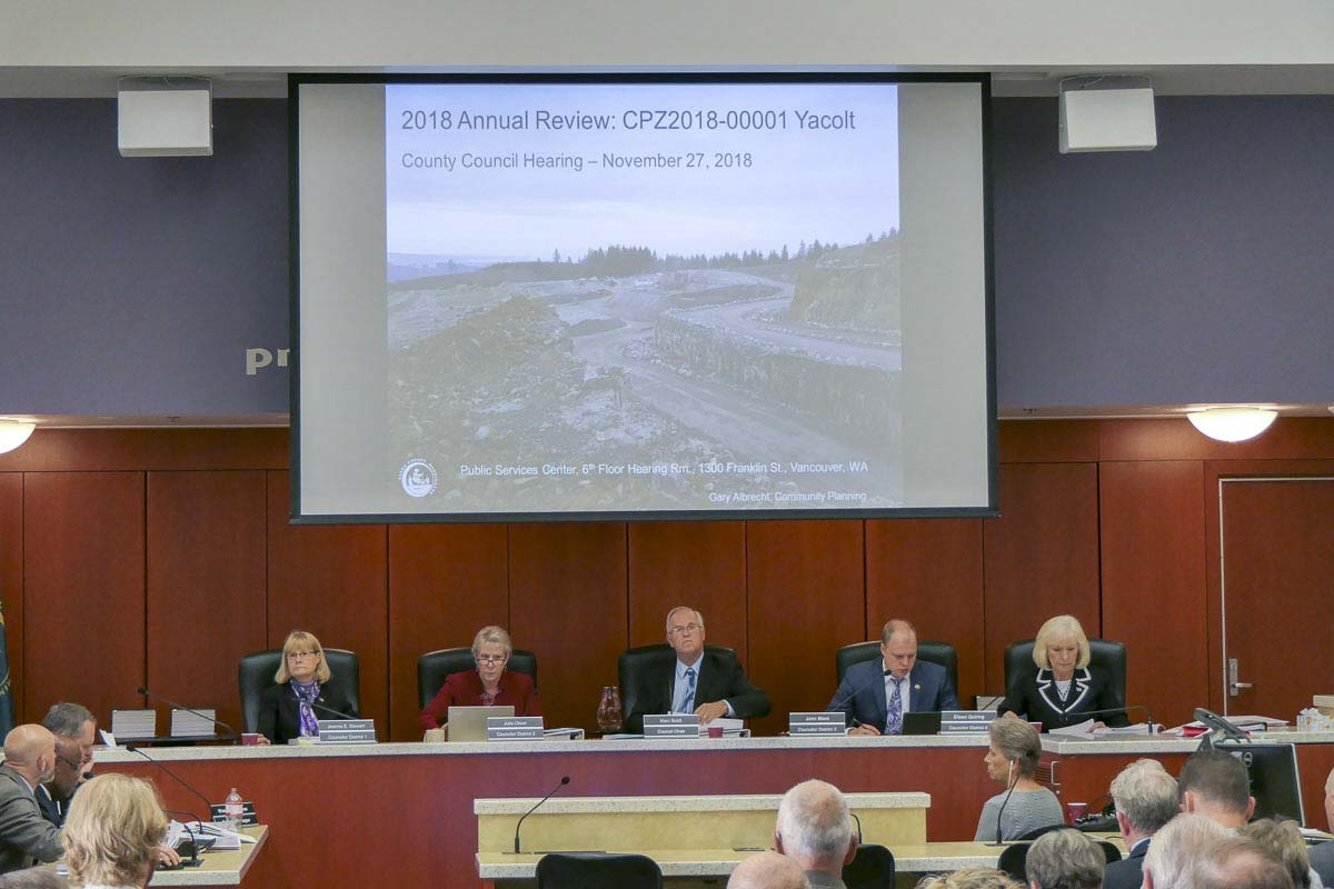 Clark County Council members heard testimony from a resident near the Yacolt Mountain Quarry. Photo by Chris Brown