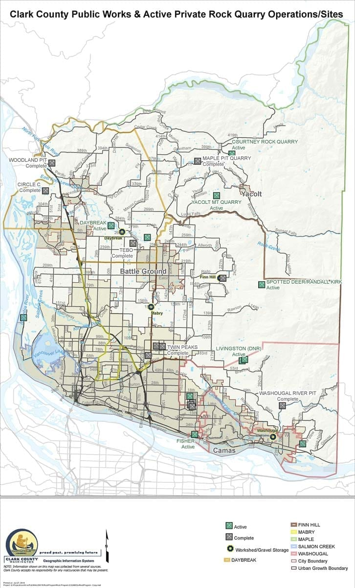 This map shows active and completed quarry sites in Clark County. Image courtesy Clark County Community Planning