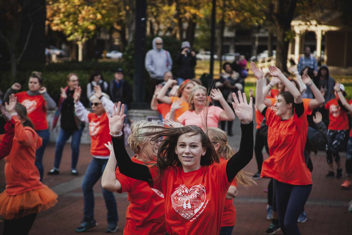 This year's inaugural Dance for Kindness freeze and flash mob took place in Esther Short Park. The event was paired with Veterans Day this year. Photo by Alex McFeron