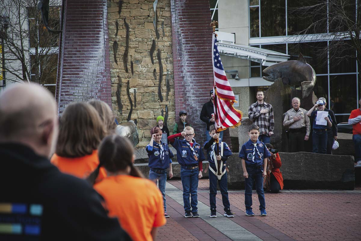 Cub Scout Pack 608 Den 2 presents the colors at Life Vest Inside's annual Dance for Kindness event. A special moment dedicated to thanking veterans soon followed, with Mayor Anne McEnerny-Ogle and Sheriff Chuck E. Atkins in attendance. Photo by Alex McFeron