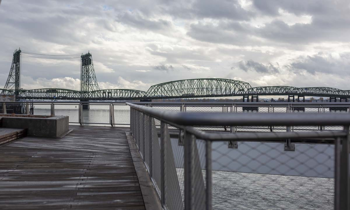 View of the I-5 bridge from Vancouver's new Waterfront development. If a ferry service is created, it will likely dock at the Port of Vancouver's Terminal 1, immediately adjacent to the I-5 bridge. Photo by Jacob Granneman