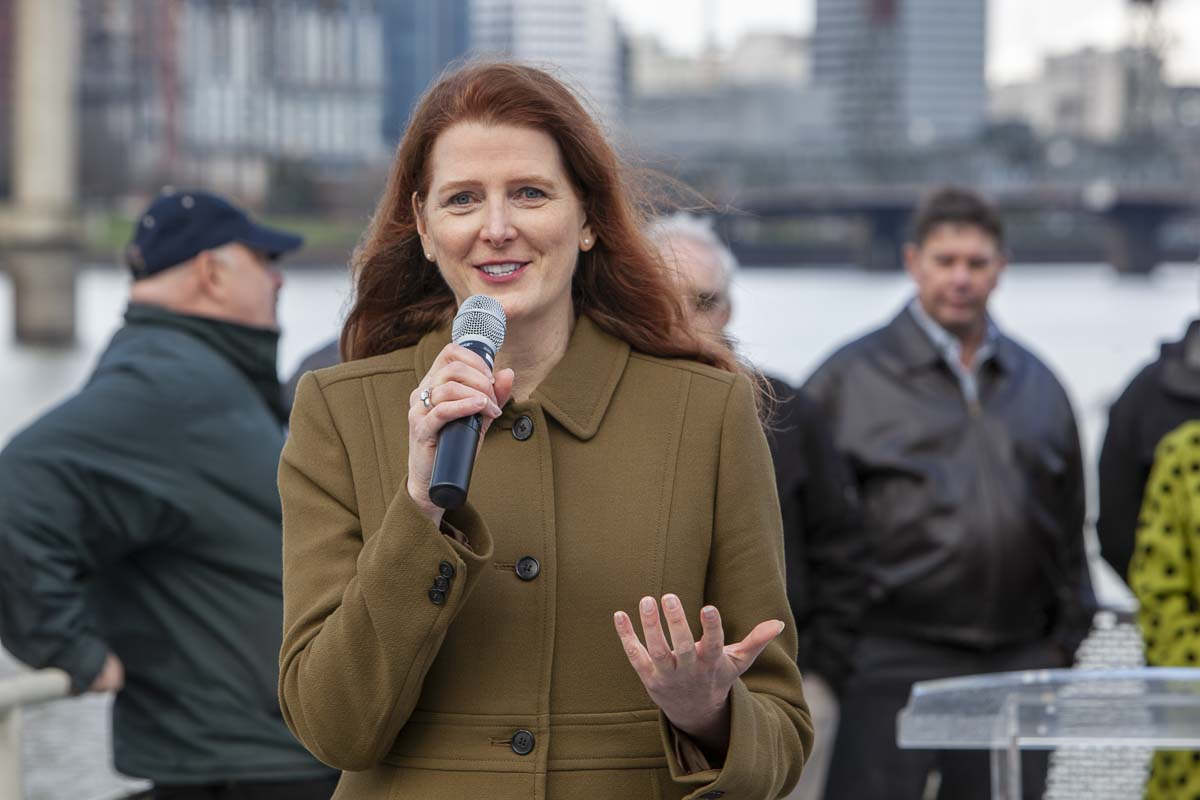 Susan Bladholm, the founder of Friends of Frog Ferry, speaks at the non-profits press conference aboard the Portland Spirit on Nov. 27, 2018. Photo by Jacob Granneman