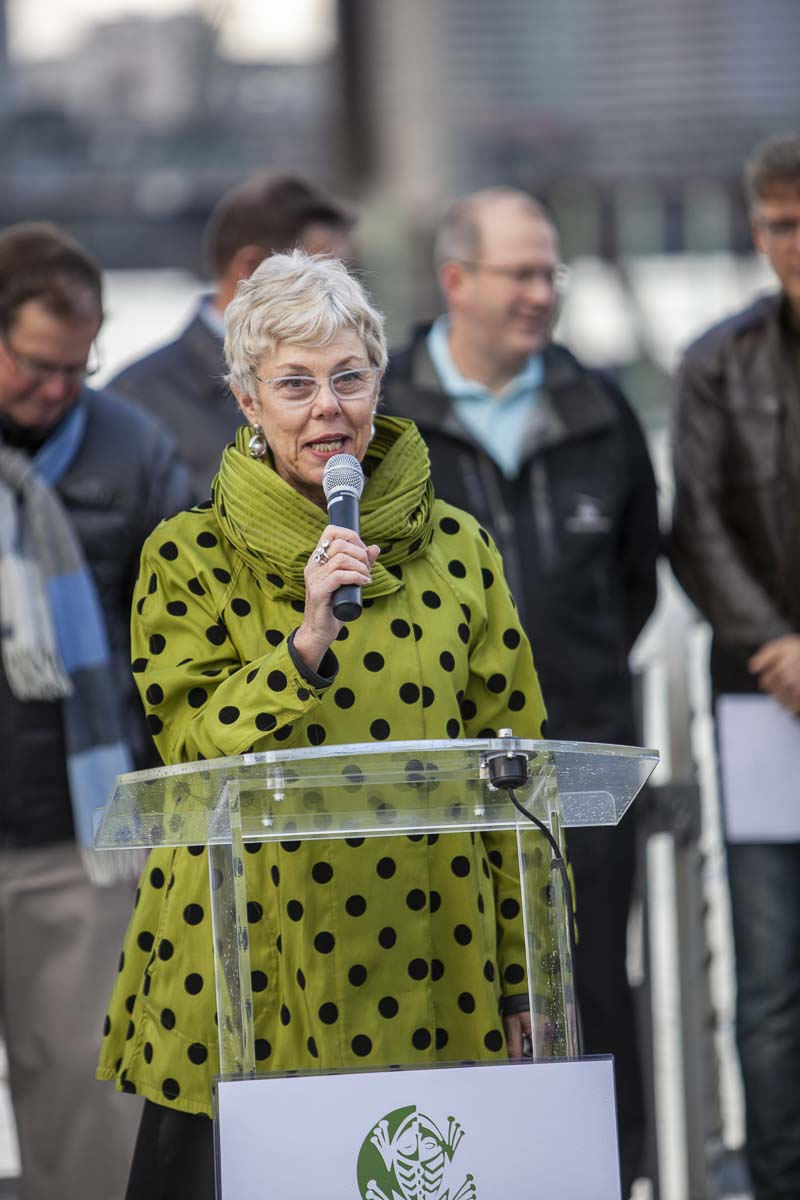 Charlene Zidell, of Zidell Yards, shares how her family has been involved in the Portland Waterfront for many years, and how a ferry service would bring many new people to Portland and Vancouver. Photo by Jacob Granneman