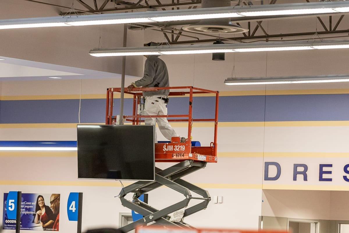 Workers are scrambling to put the finishing touches on the new 142nd and Mill Plain Goodwill location in Orchards in time for Thursday's grand opening. Photo by Mike Schultz
