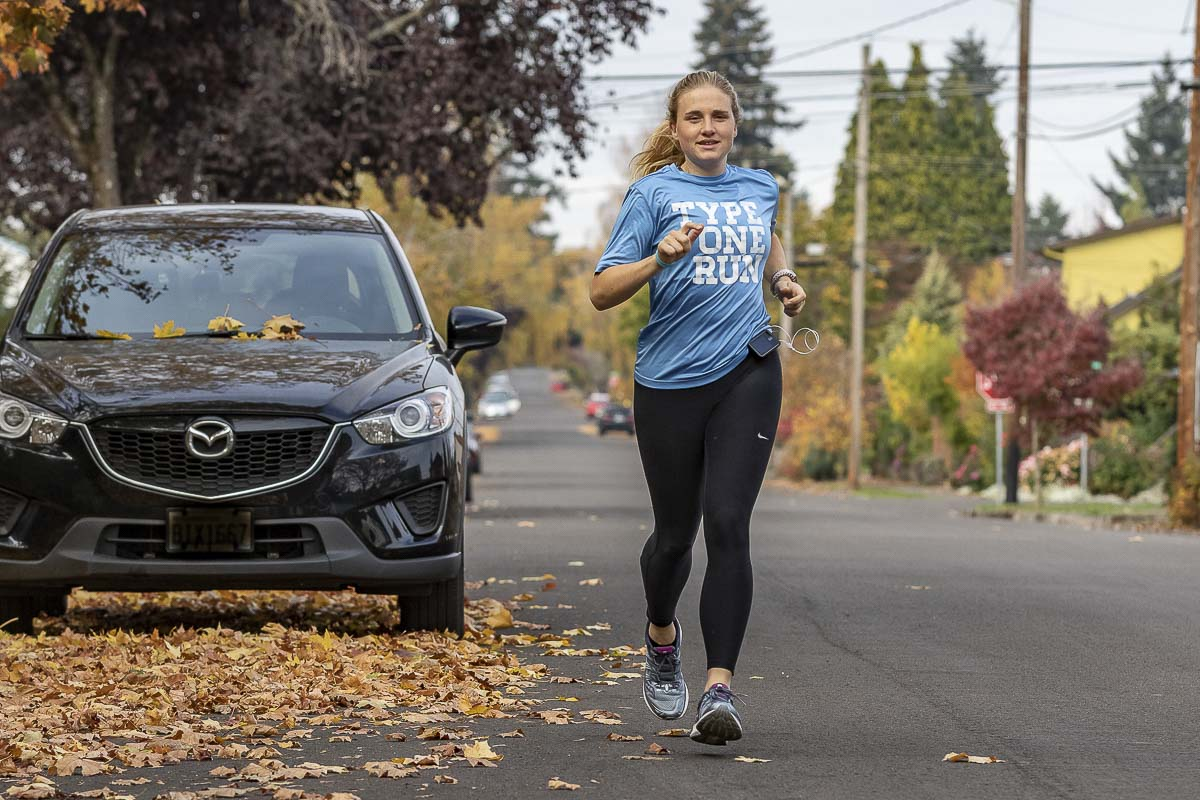 Kirsten Myers trains for the 2018 New York City Marathon near her home in Vancouver. Kirsten lives with type 1 diabetes, while still maintaining a very active lifestyle. Photo by Mike Schultz