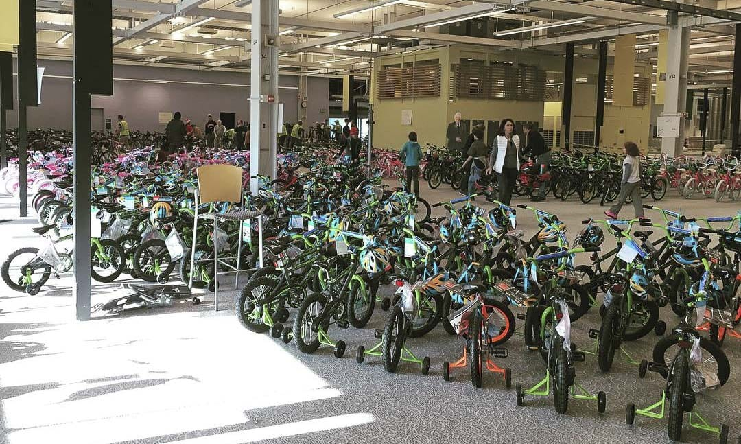 Assembled bikes stand ready to be donated to local charities as part of the Scott Campbell Christmas Promise drive by Waste Connections. 2017 Facebook photo