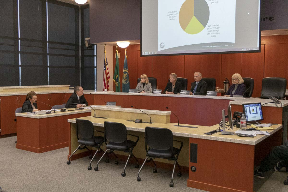 Members of the Clark County Council listen to a budget presentation by County Manager Shawn Henessee. Photo by Chris Brown