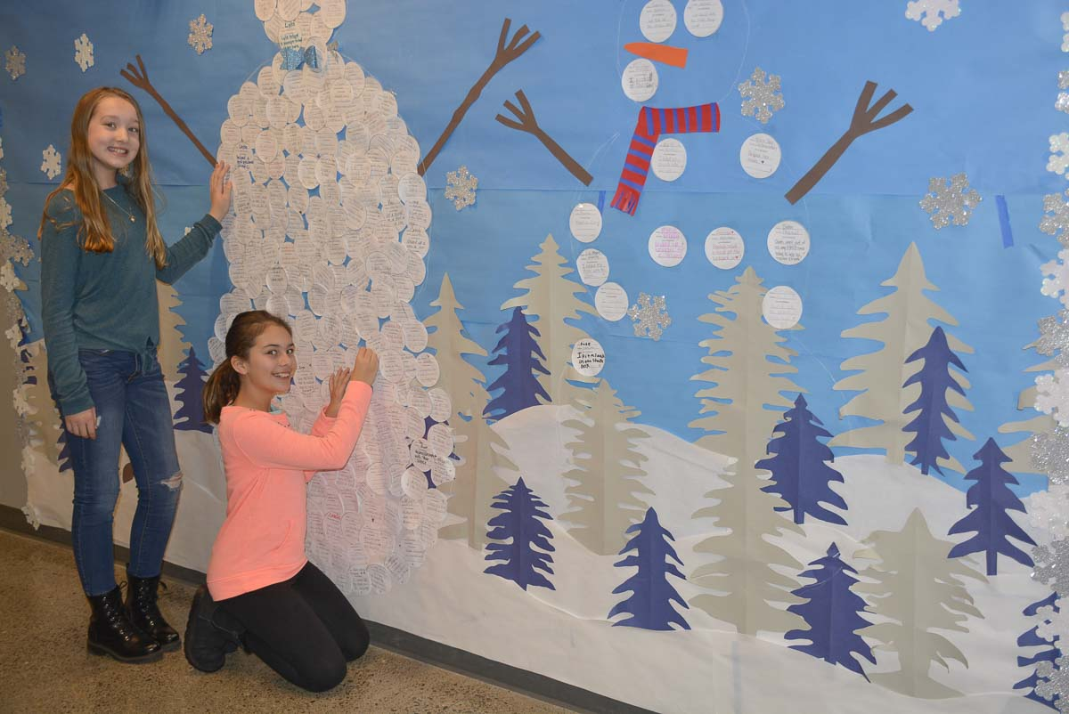 Columbia River Gorge Elementary School 5th graders Grace Hack and Bella Bradford display their recent Kindness Project. Photo courtesy of Washougal School District