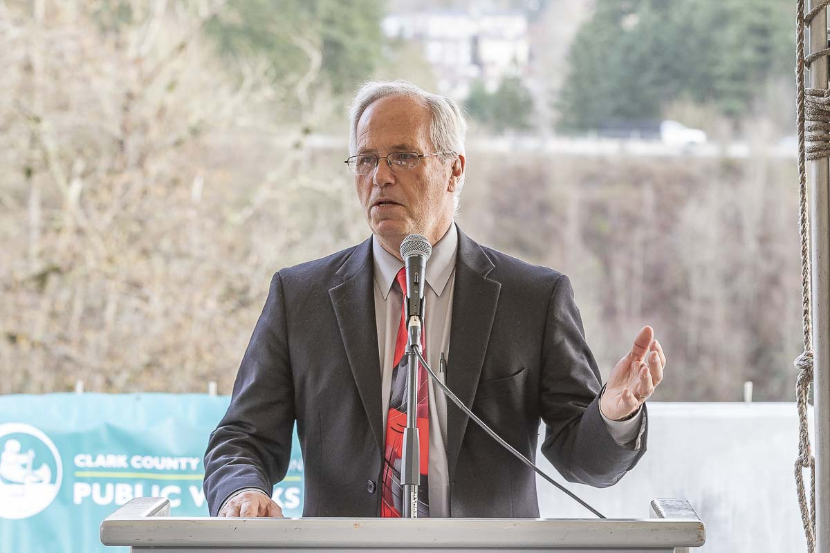 Clark County Chair Marc Boldt speaks at the ribbon cutting for the 10th Avenue Bridge over Whipple Creek. Photo by Mike Schultz