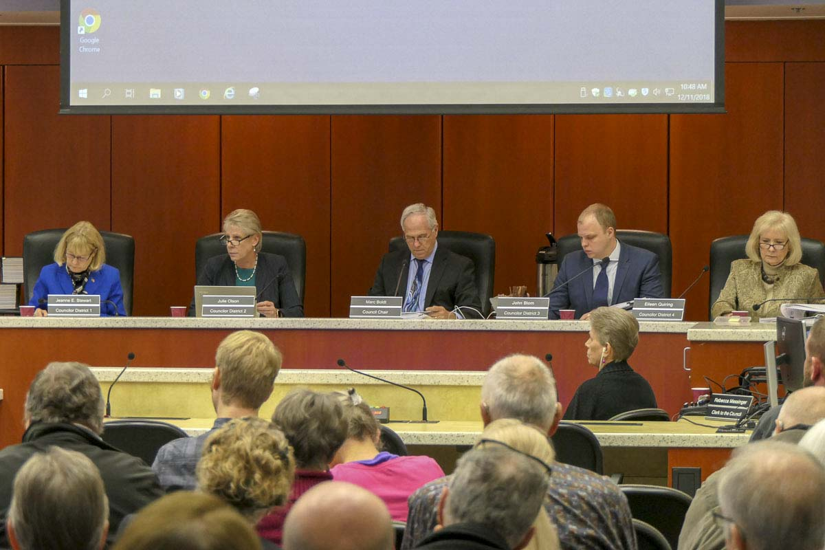 The Clark County Council hears testimony at a recent meeting. Photo by Chris Brown