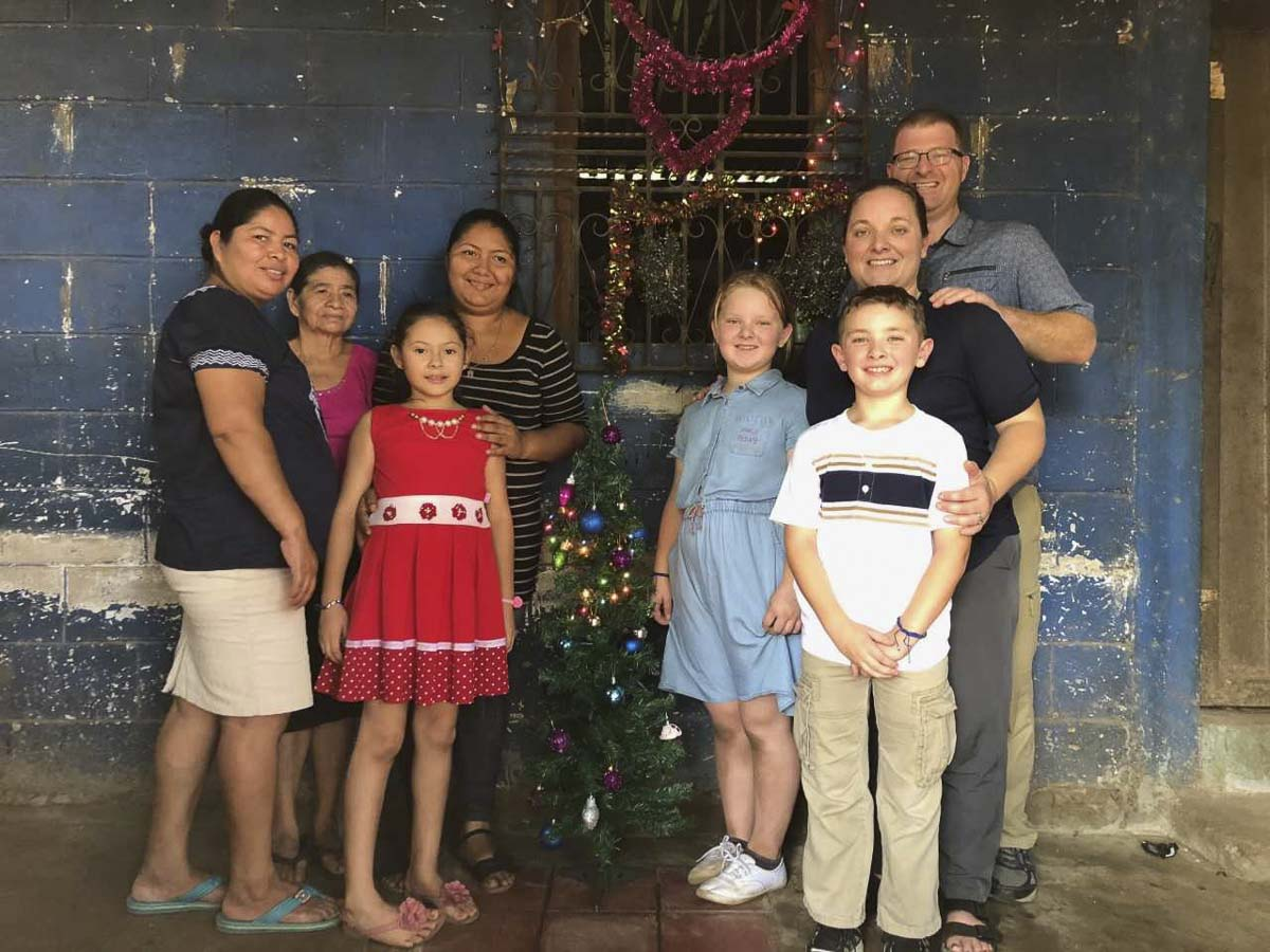 Justin and Carrie Farrell, along with their children Grace and Alex visited with the family of Gabby in El Salvador in November. Photo courtesy of the Farrell family