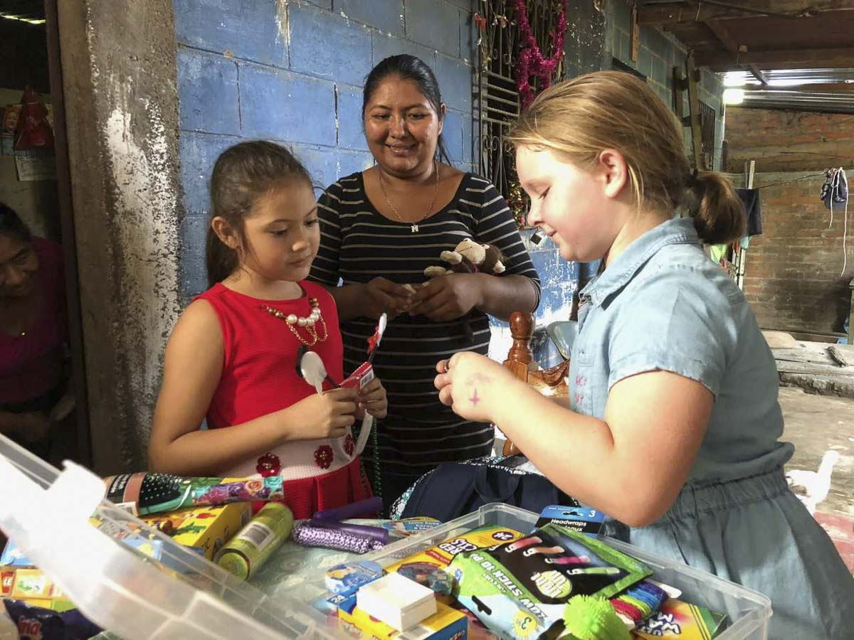 Grace Farrell (right), a 10-year old from Vancouver, got to meet Gabby, a 10-year-old from El Salvador last month. The Farrell family has sponsored Gabby for years through Compassion International. Photo courtesy of the Farrell family