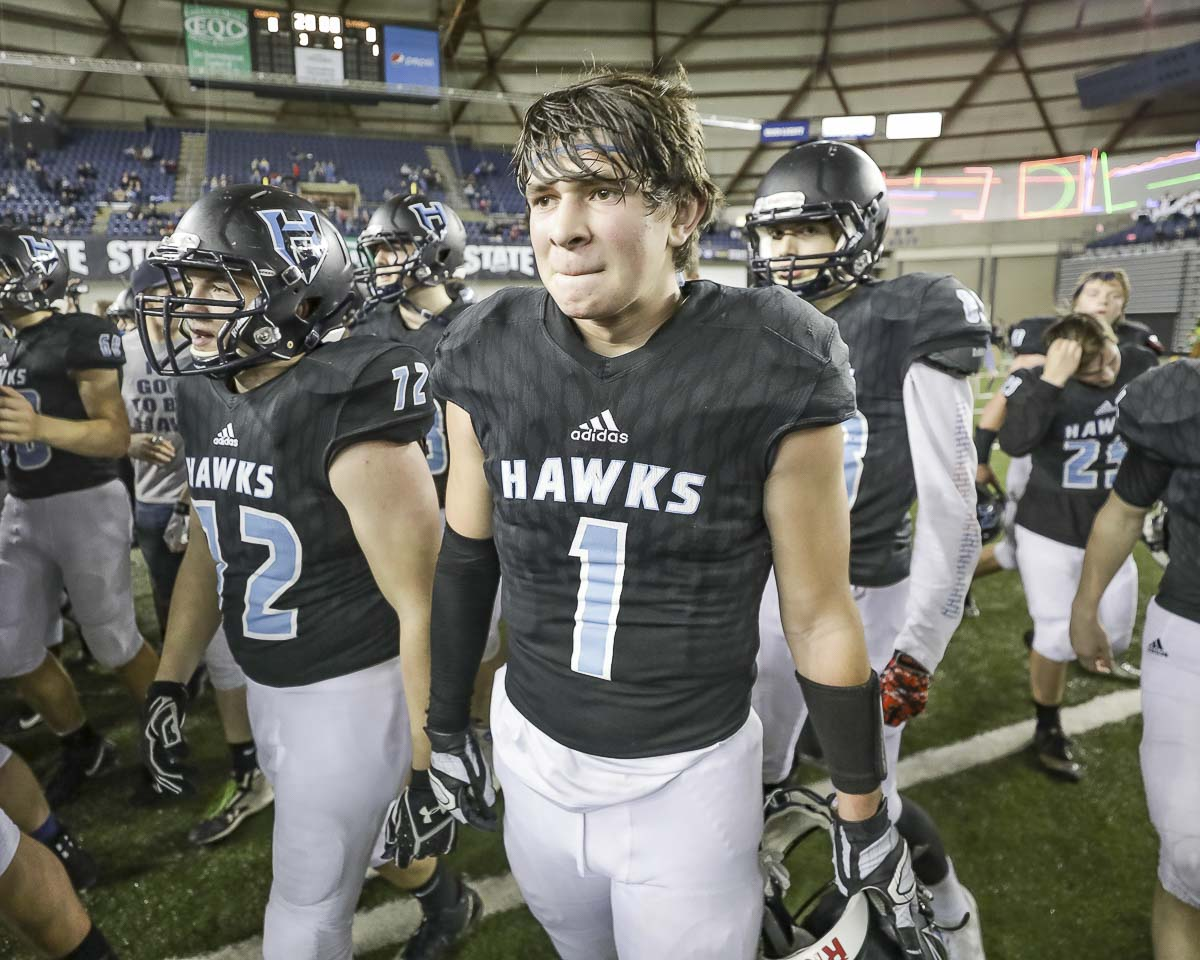 Hockinson senior Aidan Mallory (1) has been a part of two state title teams, posting an interception in both of the Hawks' championship game victories. Photo by Mike Schultz