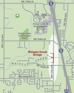 This map shows the location for the 10th Avenue Bridge project. Image courtesy Clark County Public Works
