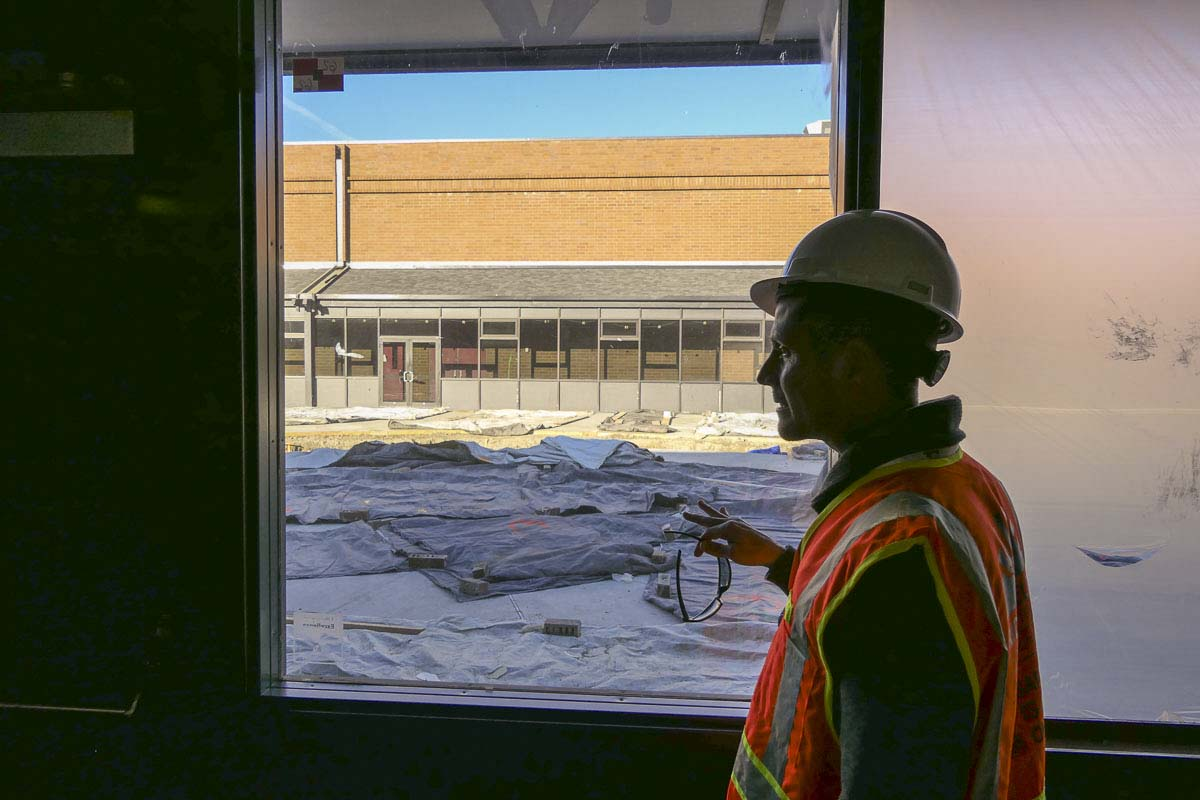 Ridgefield Schools Superintendent Nathan McCann shows off work being done at the old View Ridge Middle School building. Photo by Chris Brown