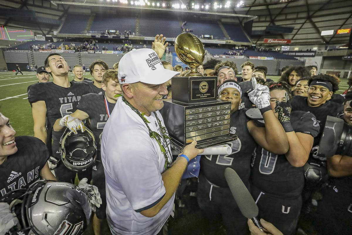 Union head coach Rory Rosenbach guided his team to a perfect 14-0 season and a Class 4A state high school football championship. Photo by Mike Schultz