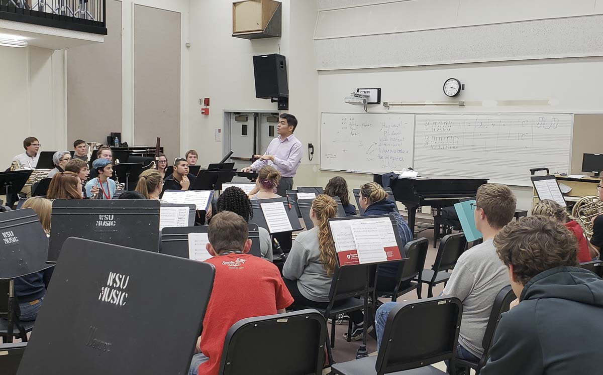 Woodland High School band students learned what life is like for a music major at Washington State University and the University of Idaho. Photo courtesy of Woodland Public Schools
