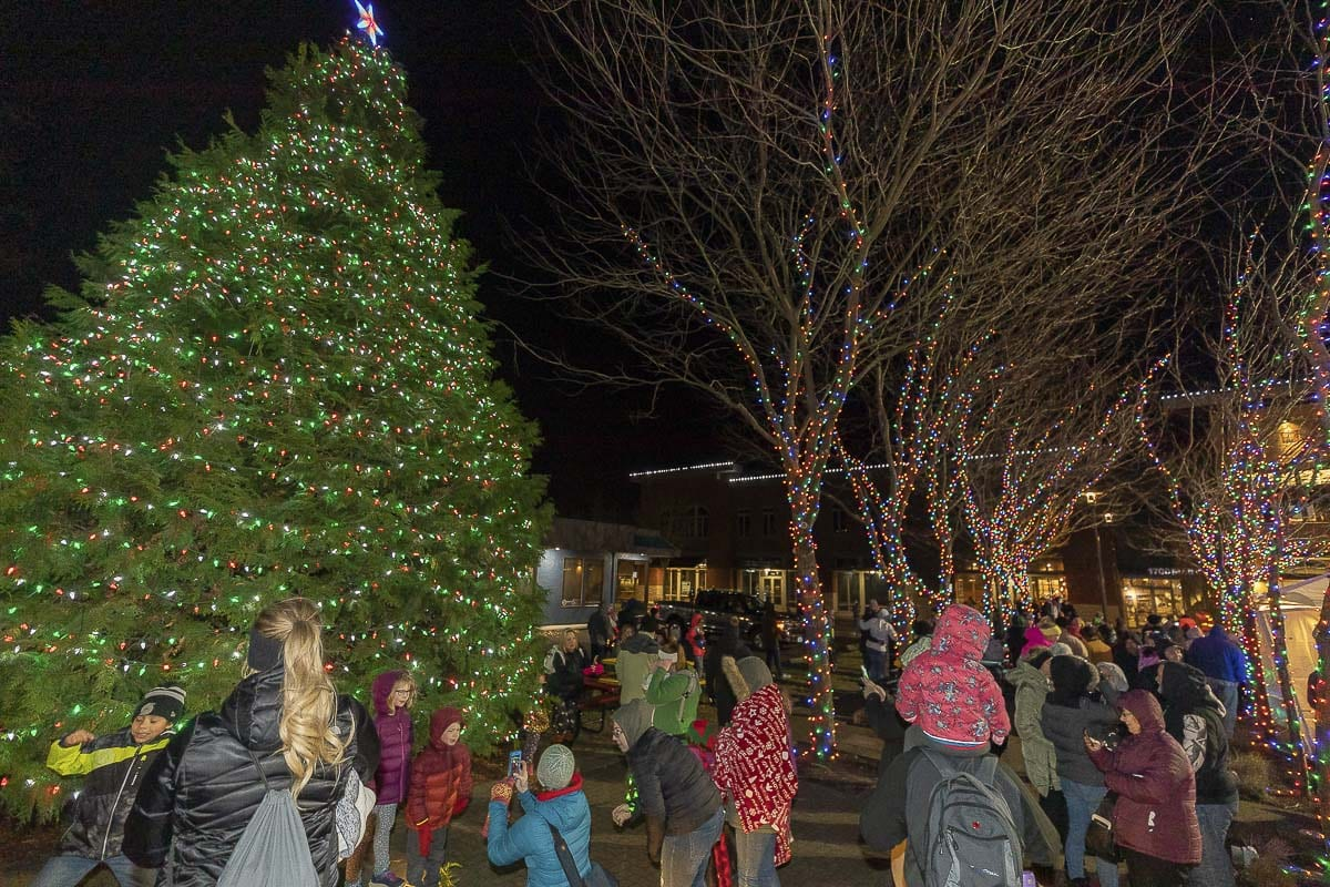 Washougal's massive Christmas tree lit up at the city's holiday parade. The tree sits right in the middle of downtown. Photo by Mike Schultz