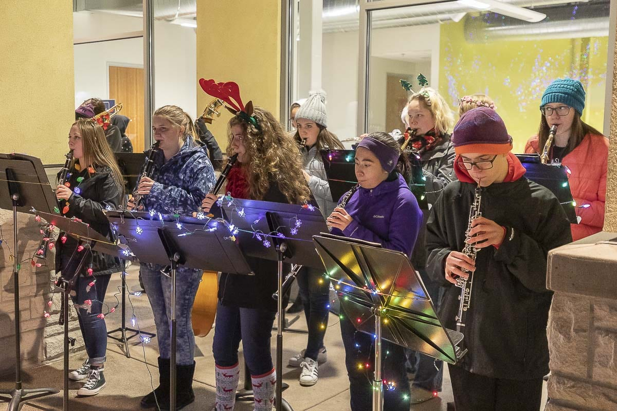 The Washougal High School band performed all night long at the city's holiday parade and tree lighting. Photo by Mike Schultz