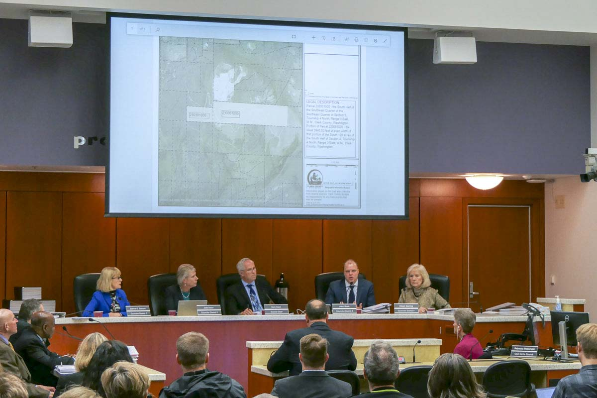 Clark County Council discusses expansion of the Yacolt Mountain Quarry mining overlay. Photo by Chris Brown