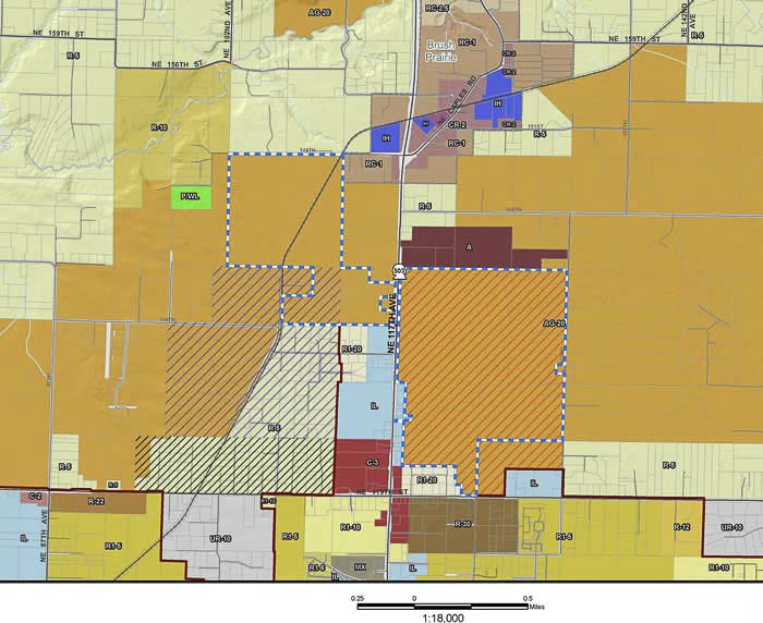 This 2016 map shows the proposed Rural Industrial Land Bank area. Image courtesy Clark County Community Planning