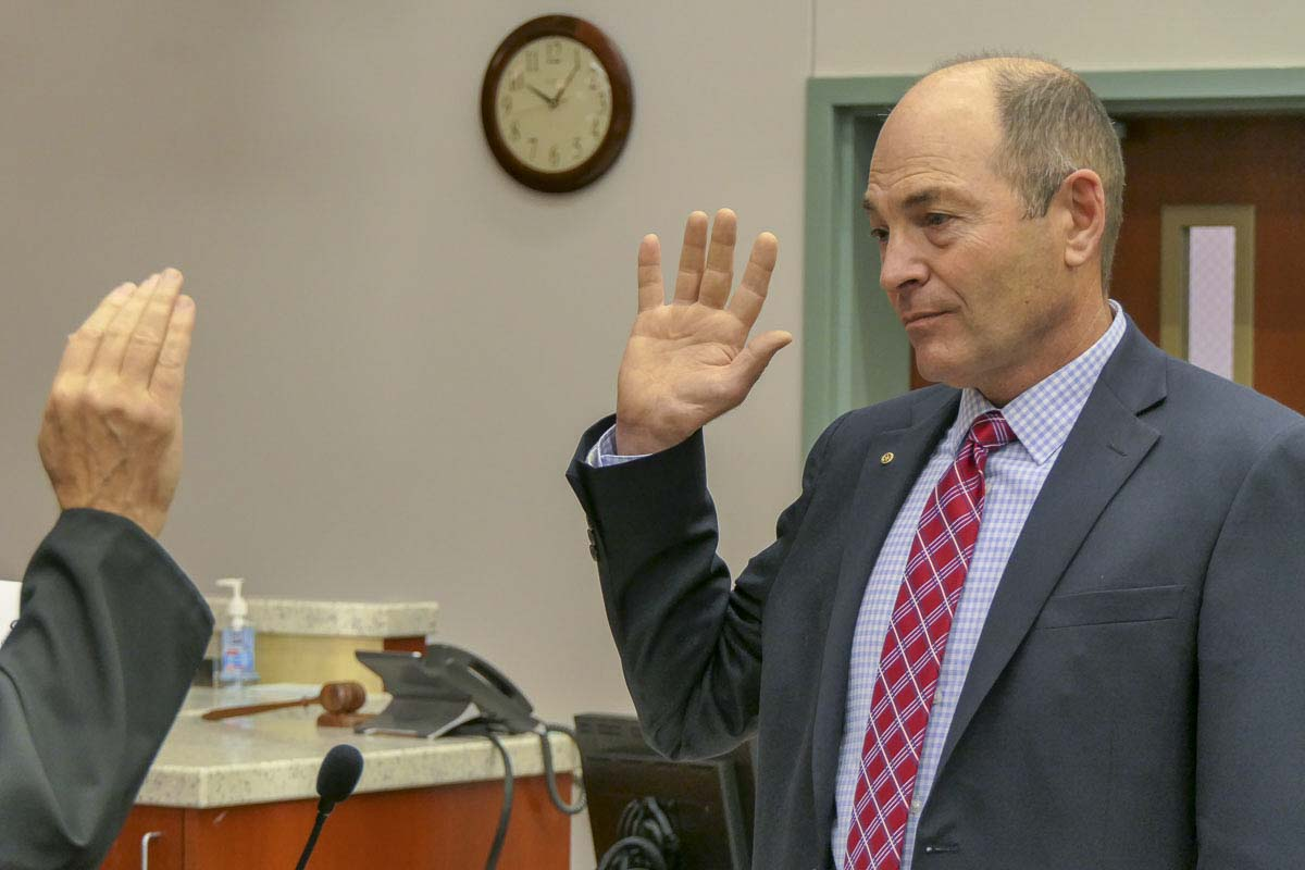 Clark County Auditor Greg Kimsey was sworn in for another term of office on Wednesday. Photo by Chris Brown